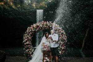 Bali waterfall wedding organized by Bali Moon Wedding